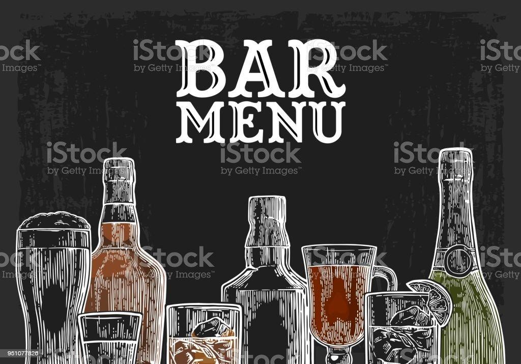 Plantilla para la bebida de alcohol de menú de la barra. - ilustración de arte vectorial