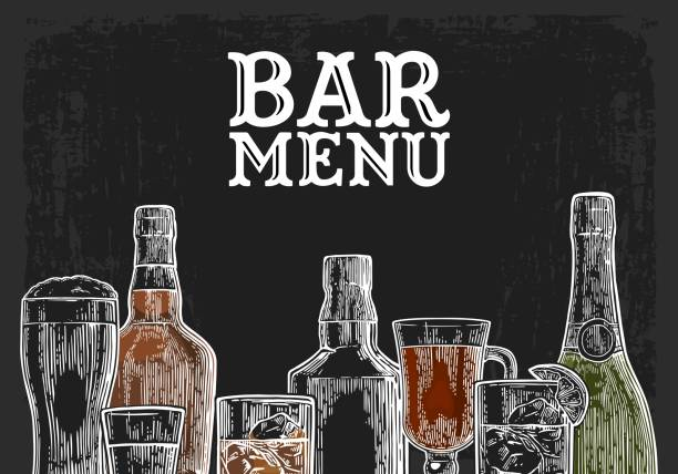 template for bar menu alcohol drink. - refreshment stock illustrations, clip art, cartoons, & icons
