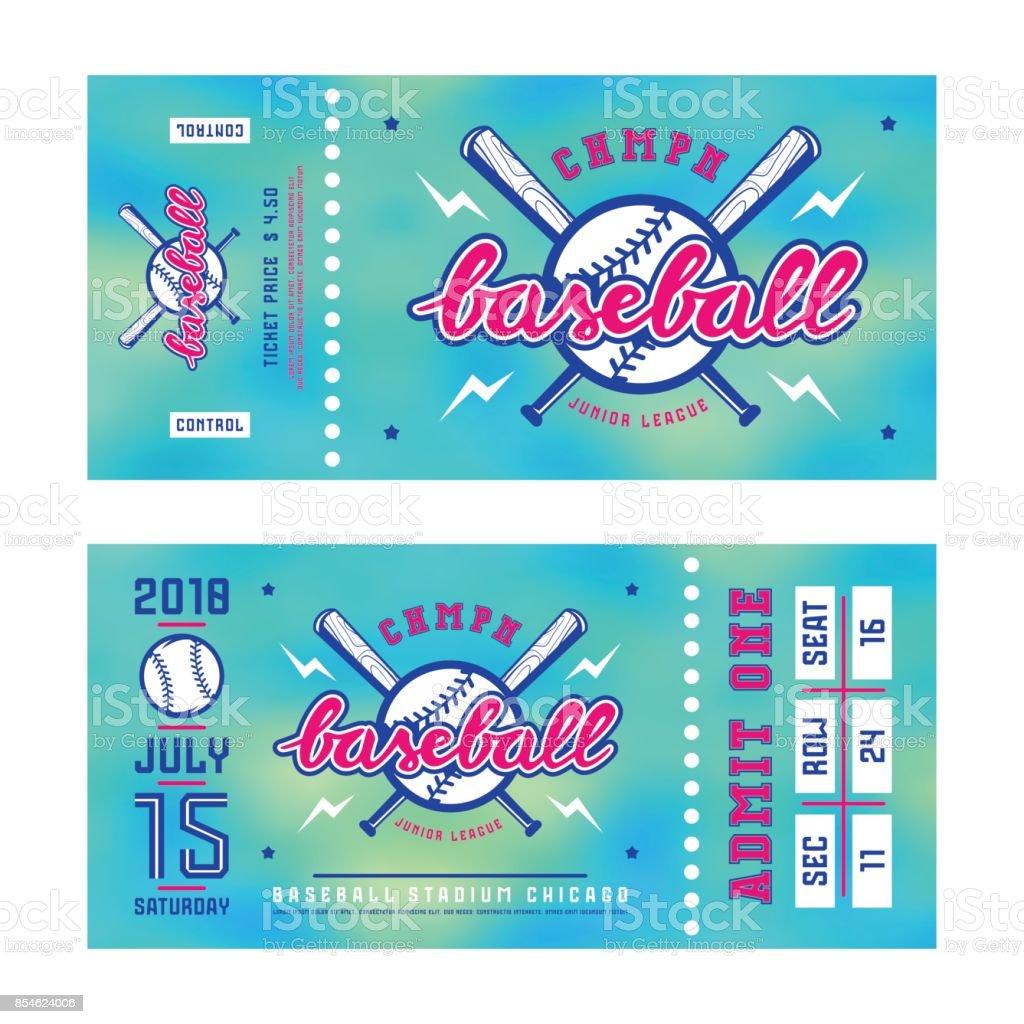 Template for baseball ticket vector art illustration
