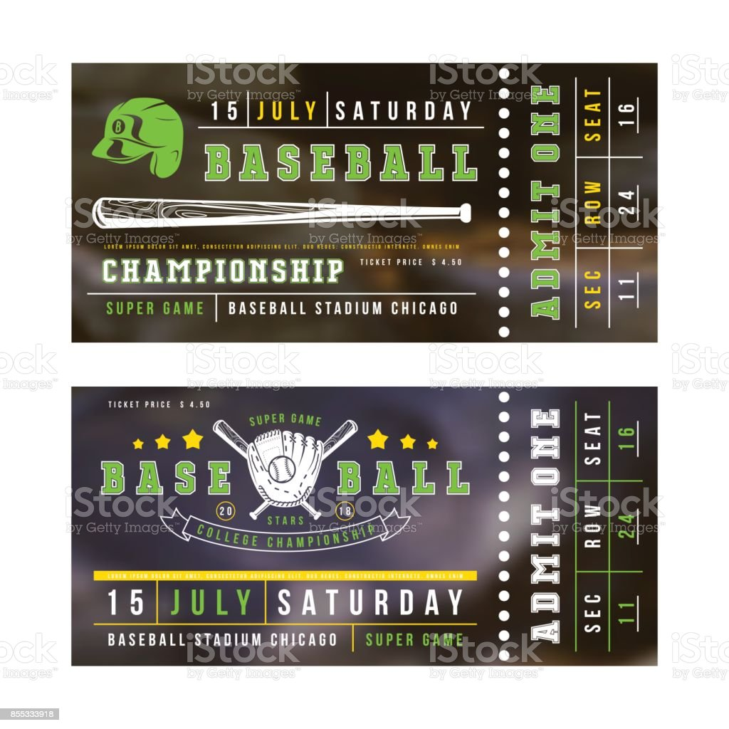 Template for baseball ticket vector art illustration