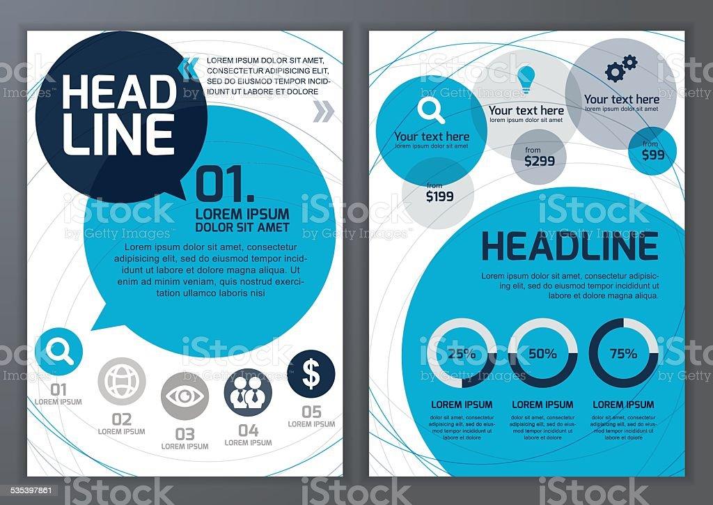 Template for brochure, flyer, poster, online service. Vector set. vector art illustration