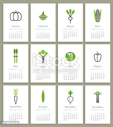 Template For Calendar 2015 Vegetables Icons Isolated Vector Stock