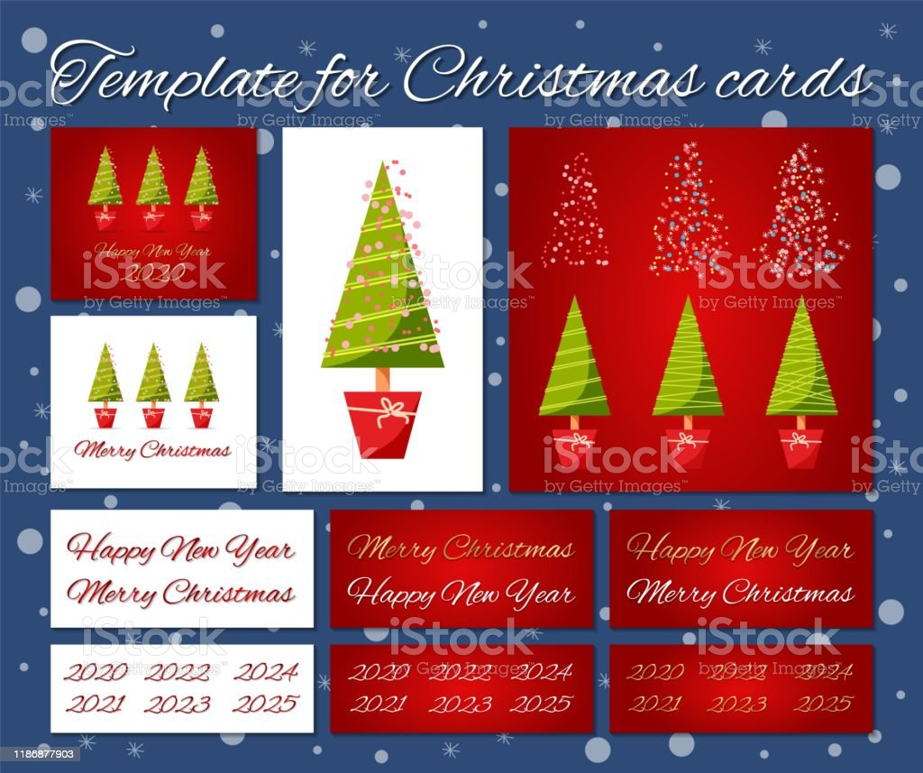 Merry Christmas And Happy New Year 2020-2022 Template For Christmas Cards Stock Illustration   Download Image