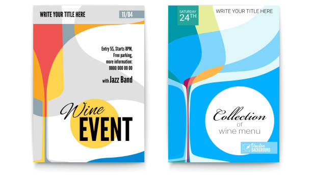 Template for Cocktail Party, Wine festival event or menu covers, A4 size. Vector template of poster, design layout for brochure, banner, flyer. Posters design with abstract graphic isolated on white Template for Cocktail Party, Wine festival event or menu covers, A4 size. Vector template of poster, design layout for brochure, banner, flyer. Posters design with abstract graphic isolated on white invitational stock illustrations