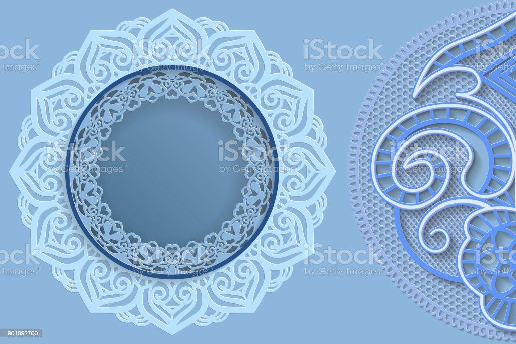 Plantilla De Diseño Redonda Con Bordes De Encaje Y 3d Mandala Al ...