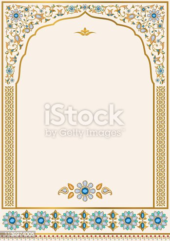 Template for design of ornate wedding invitation, greeting card  and other. Ornamental floral frame of gold and jewellery. Arabic, Persian, Indian style