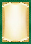 Template for diploma, certificate, card with scroll and decorative background patterns. Mesh is used. A4 page proportions.