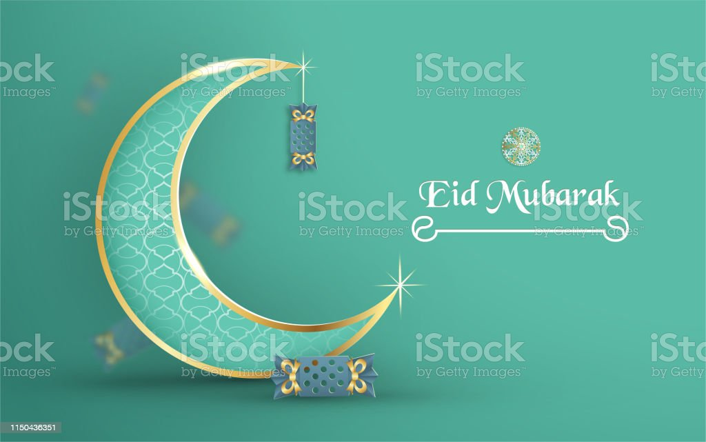 Template for Eid Mubarak with green and gold color tone. 3D Vector...