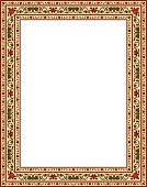 Oriental colorful floral ornament. Template for frame, card, border. Vector pattern with place for your text.