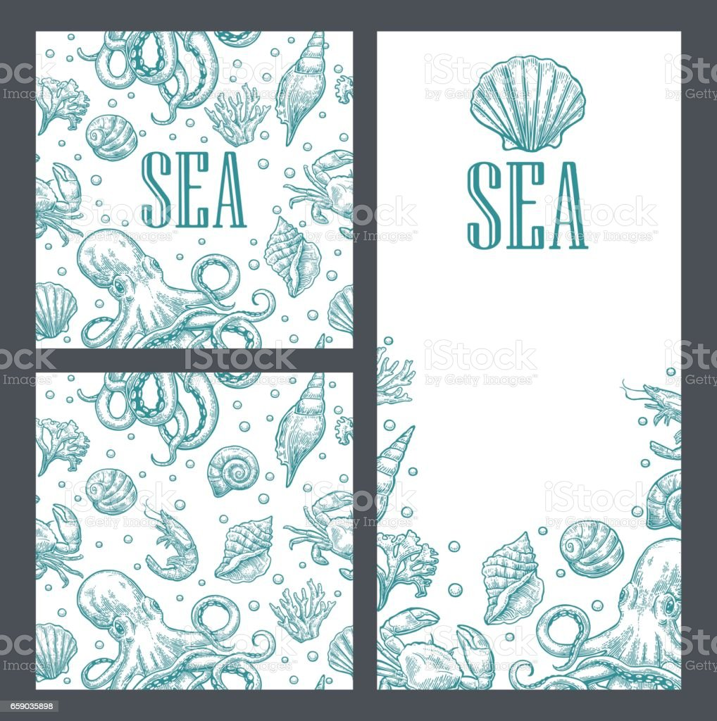 template for greeting card and seamless pattern sea shell octopus royalty free template
