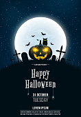 Template for Halloween party. A terrible concept of crosses, graves and a glowing pumpkin. Gold dust. The black owl. Full moon. Vertical background. Club poster