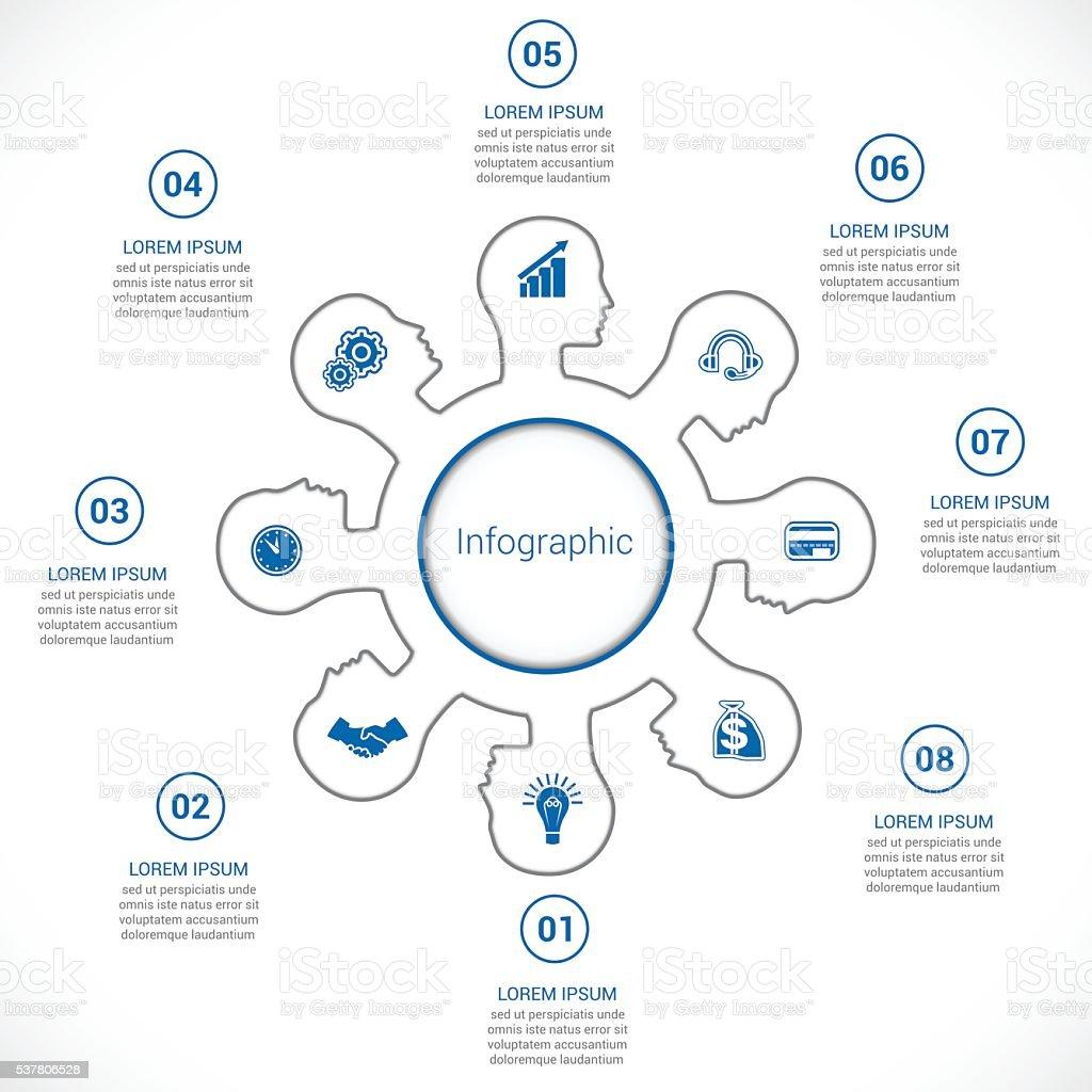 Vorlage für Infografik, Kopf der Person in acht stellen. – Vektorgrafik