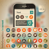 Template for infographic with smartphone and icons in vintage style