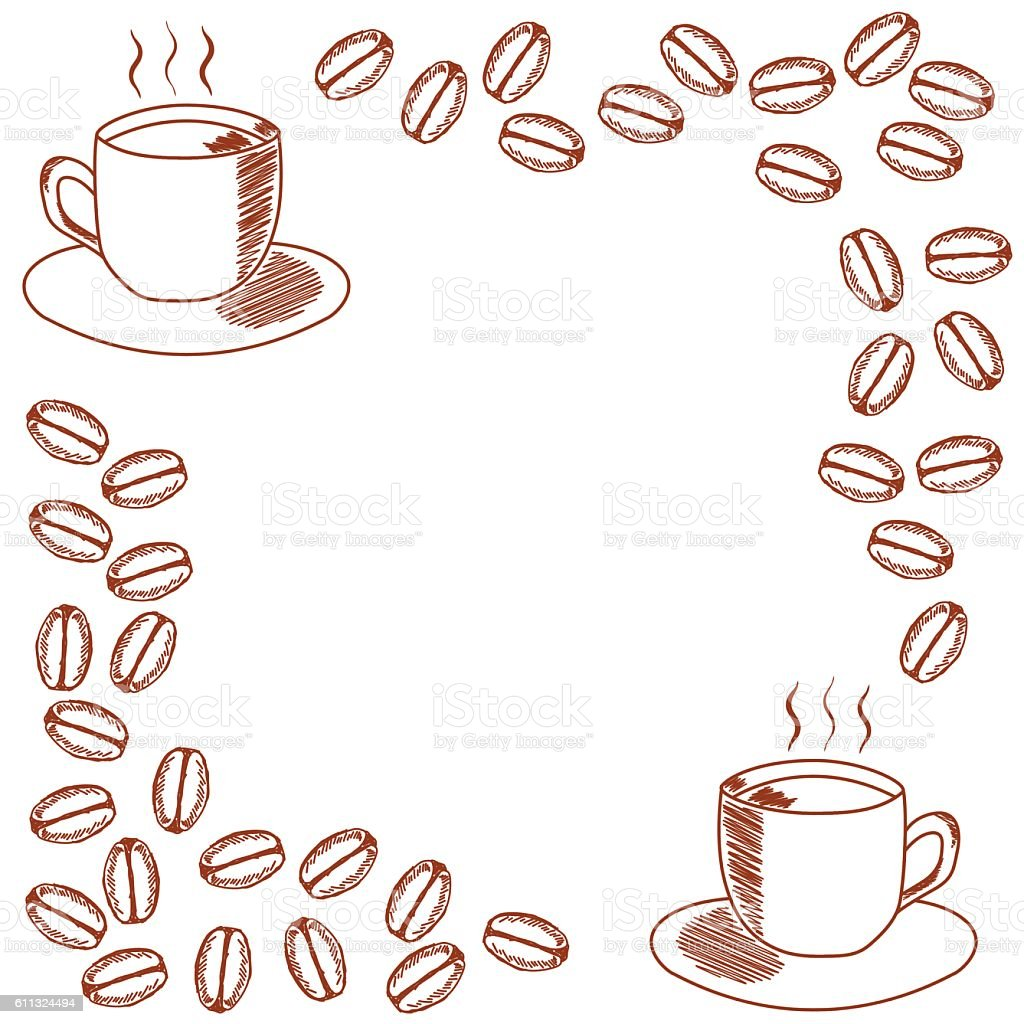 Template For Invitation With Mug Of Coffee And Beans Stock