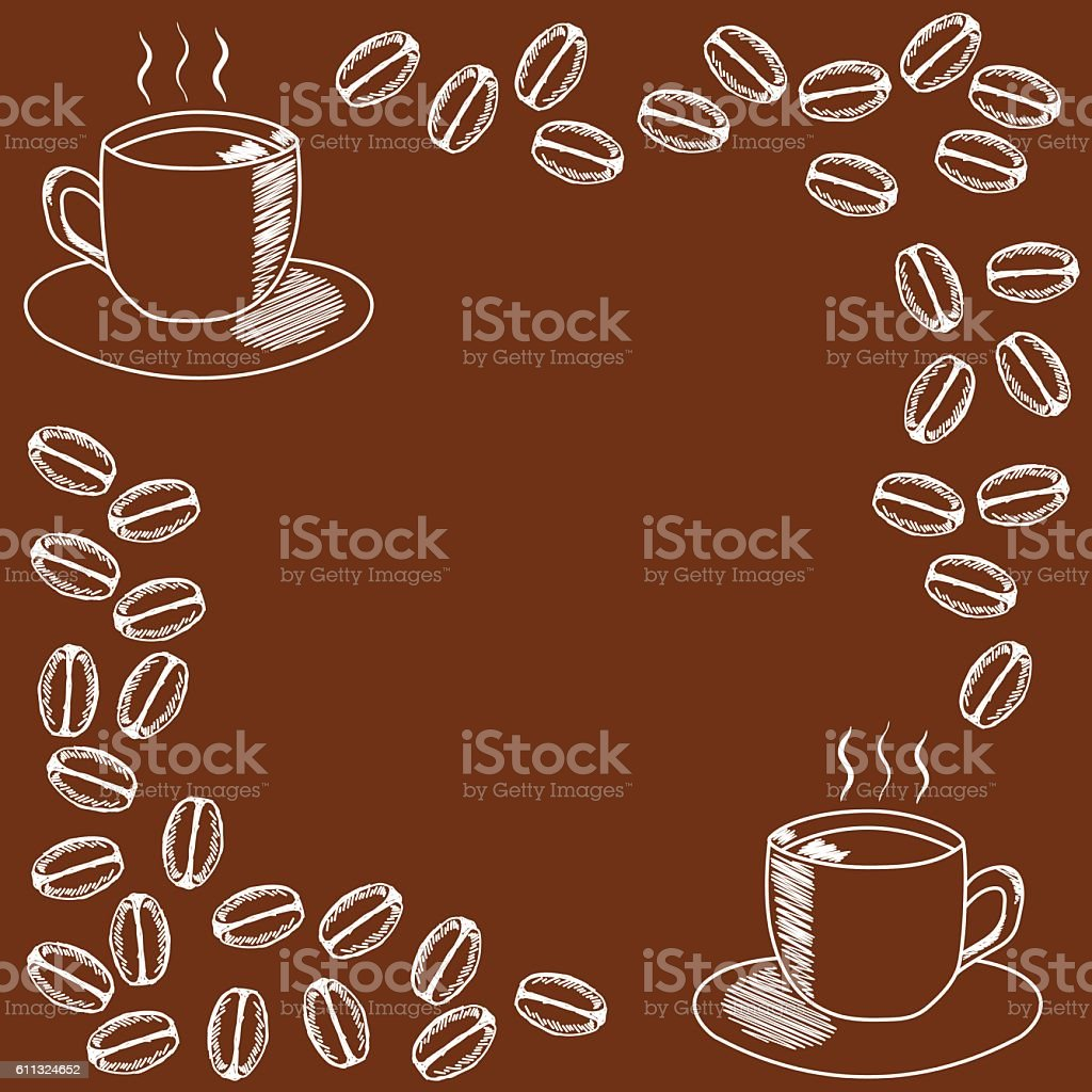 template for invitation with mug of coffee coffee beans 2