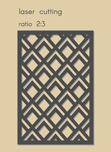 Template for laser cutting. Stencil for panel of wood, metal. Geometric pattern.