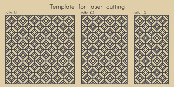 Template for laser cutting. Stencil for panels of wood, metal. Geometric pattern.
