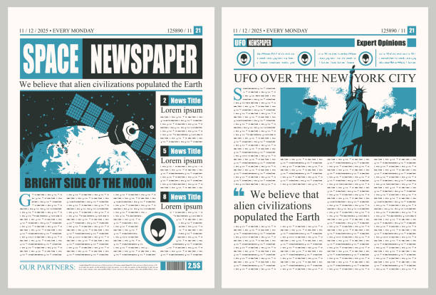Template For Layout Of Newspaper On The Theme Of Ufo In Usa Stock Illustration Download Image Now Istock