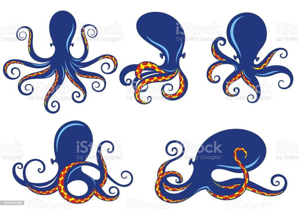 Template for logos, labels and emblems with blue silhouette of octopus векторная иллюстрация