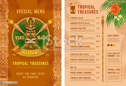 Template for menu of Tiki bar or club. Cover and back side. Drinks and food. Traditional Tiki mask, torches and tropical plants and flowers. Vector illustration.