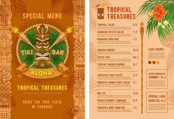 Template For Menu Of Tiki Bar Or Club Template for menu of Tiki bar or club. Cover and back side. Drinks and food. Traditional Tiki mask, torches and tropical plants and flowers. Vector illustration. alcohol drink borders stock illustrations