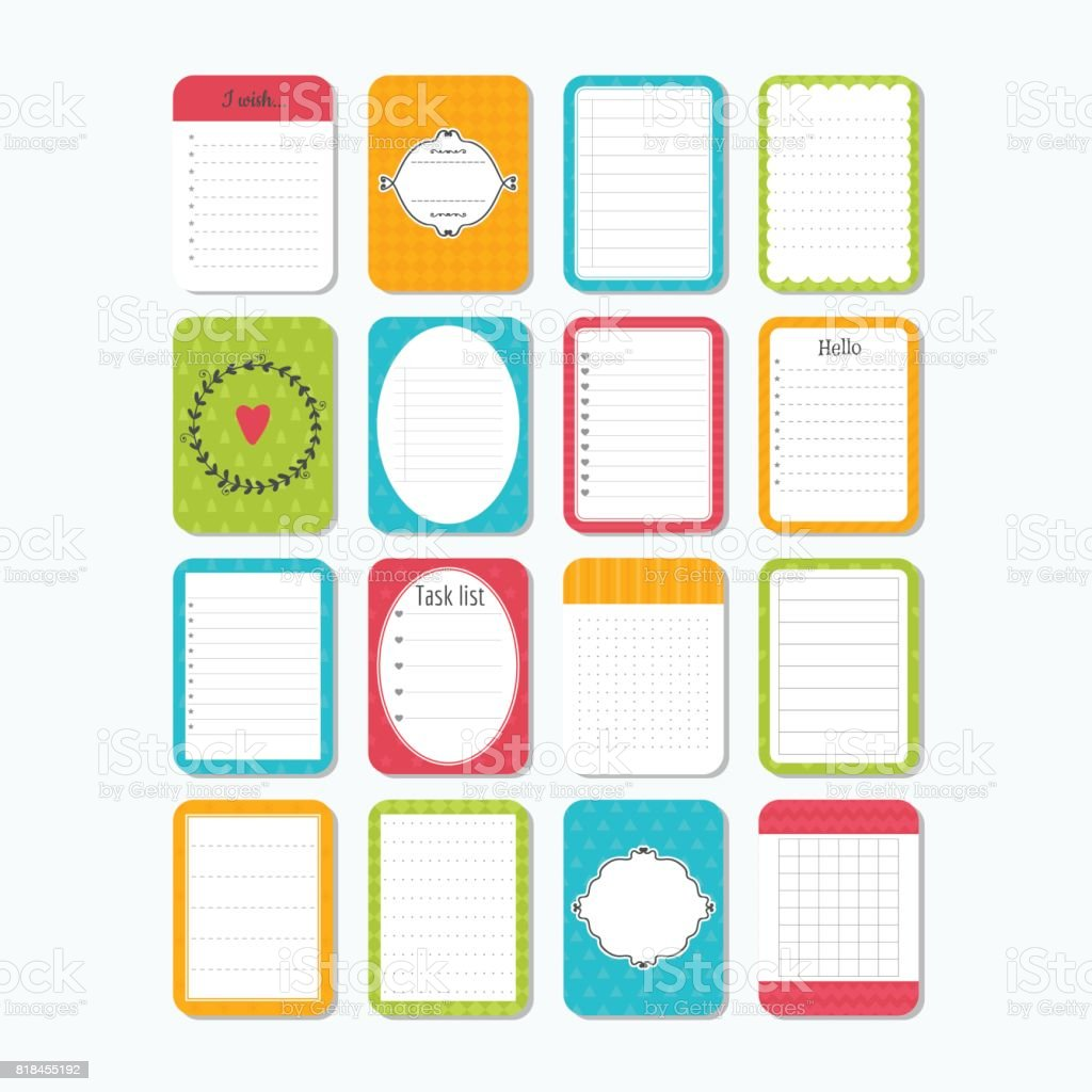Template For Notebooks Collection Of Various Note Papers Notes