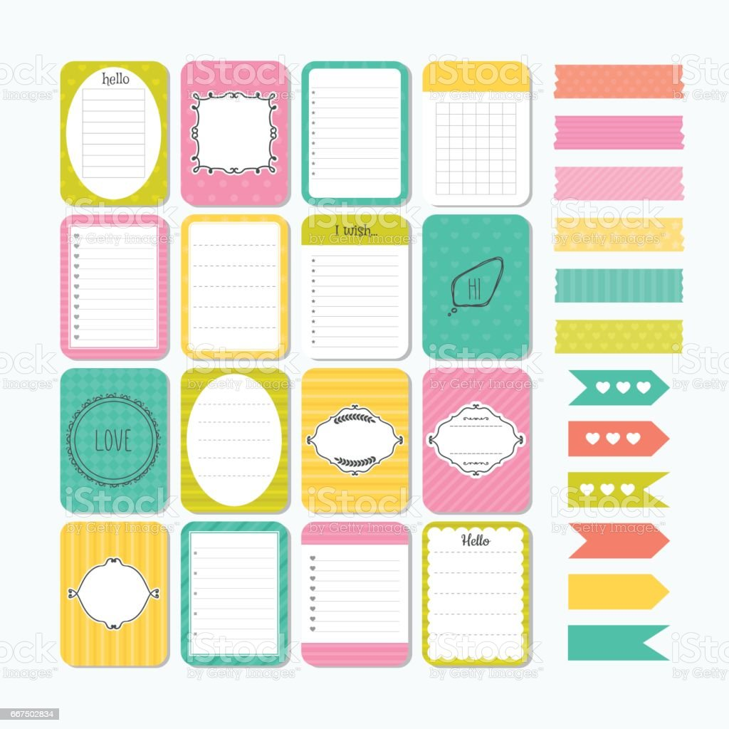 Template for notebooks. Cute design elements. Flat style. Notes, labels, stickers. Collection of various note papers template for notebooks cute design elements flat style notes labels stickers collection of various note papers - immagini vettoriali stock e altre immagini di affari royalty-free