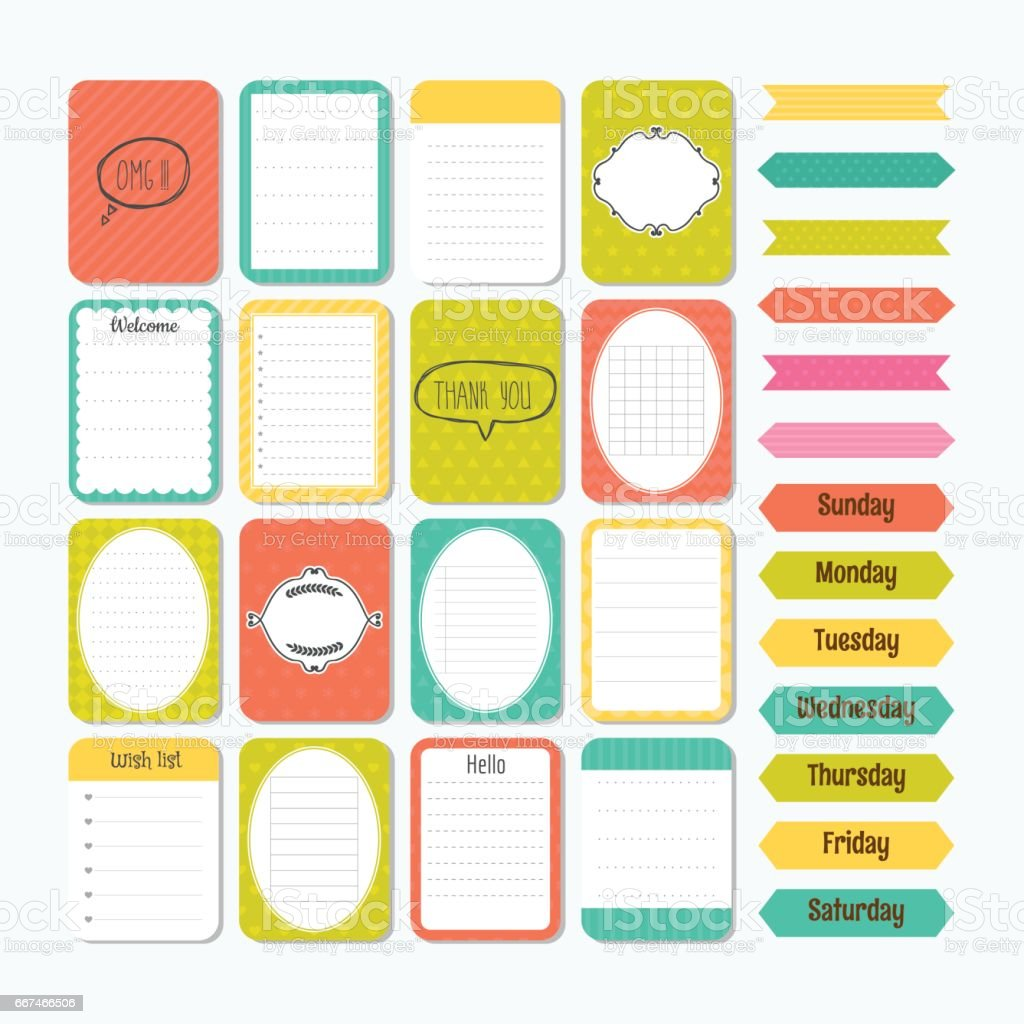 template for notebooks cute design elements in flat style notes