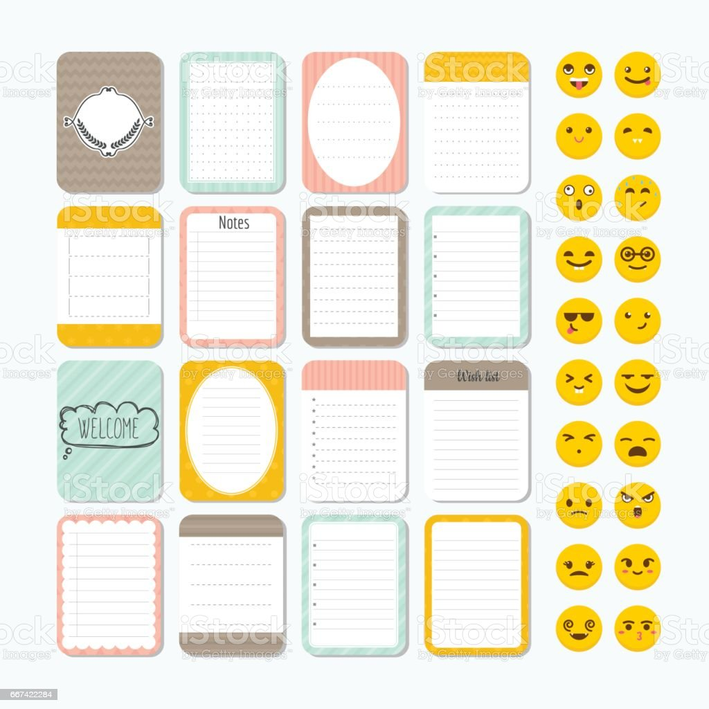 Template for notebooks. Cute design elements. Notes, labels, stickers, smile emoji. Collection of various note papers. Flat style vector art illustration
