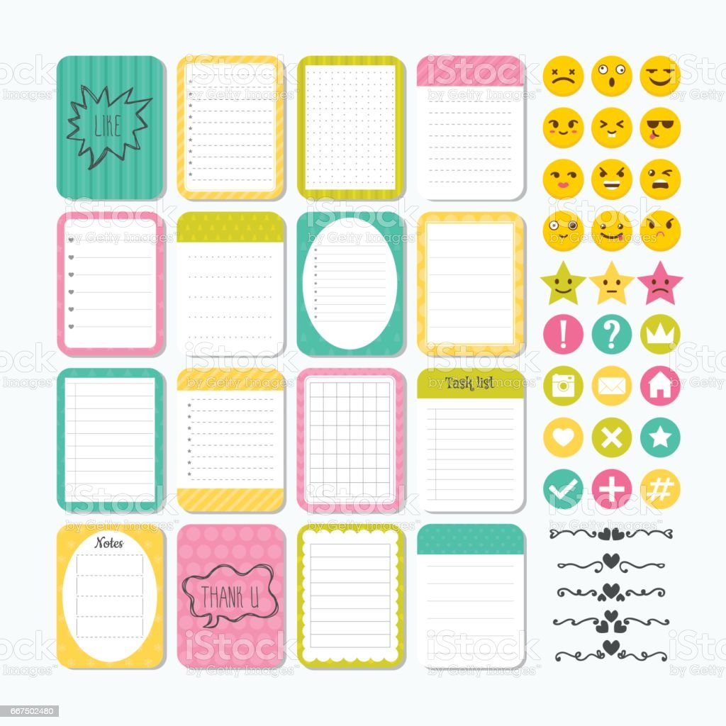 Template for notebooks. Cute design elements. Notes, labels, stickers, smile emoji. Flat style. Collection of various note papers vector art illustration
