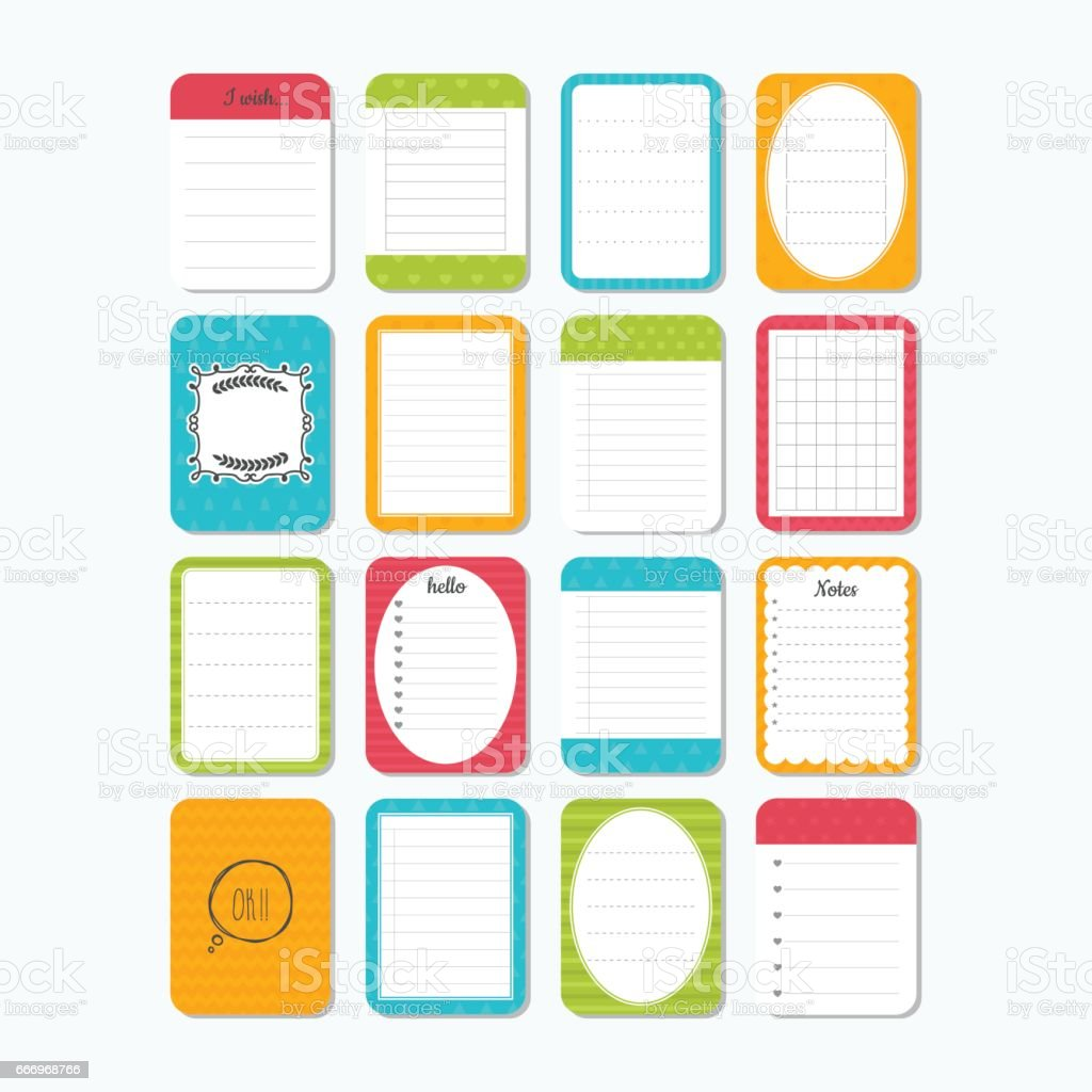 Template for notebooks. Notes, labels, stickers. Collection of various note papers. Cute design elements vector art illustration