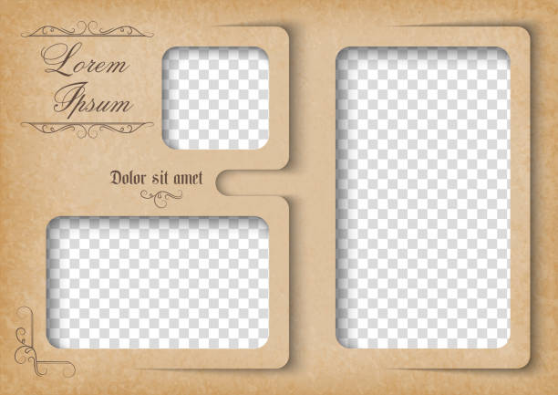 Template for photo collage in vintage style. Frames for clipping masks is in the vector file Family photo album. photo album stock illustrations