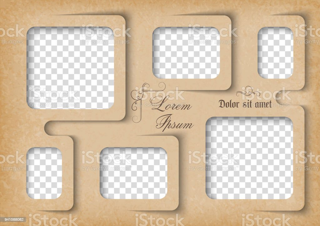 Template For Photo Collage In Vintage Style Frames For Clipping