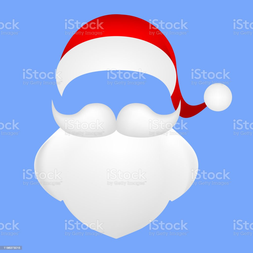 Template For Photo Mustache With A Beard And Cap Of Santa Clau