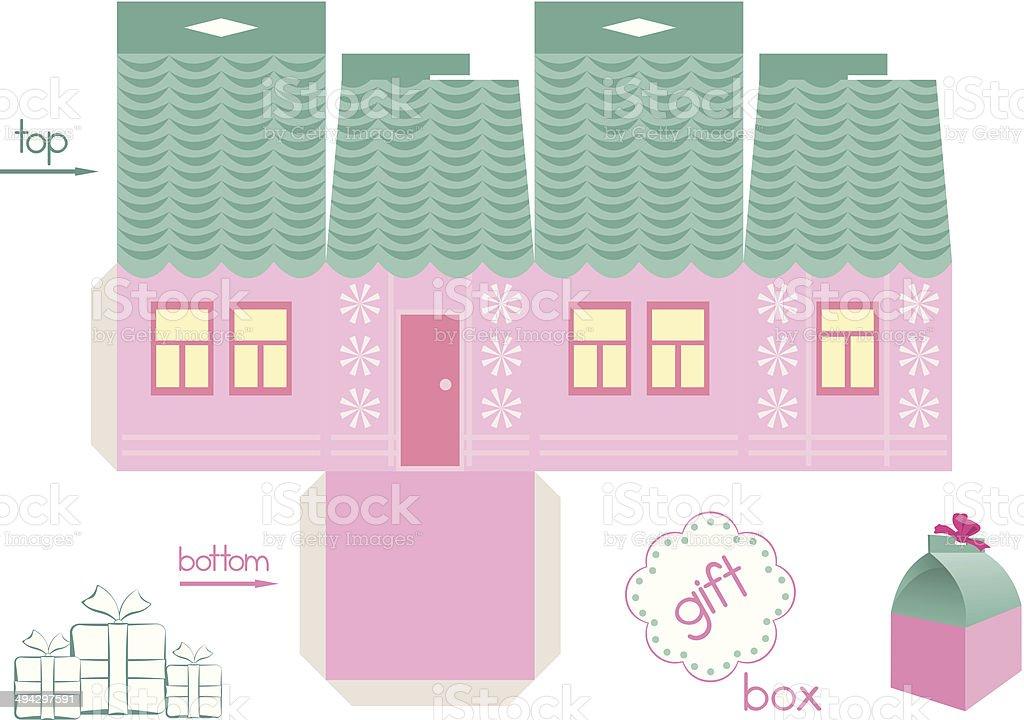 Vorlage Für Pink House Geschenk Box Stock Vektor Art und mehr Bilder ...