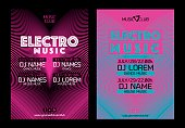 Template for poster design or electronic music banners. Background design with lines. Vector
