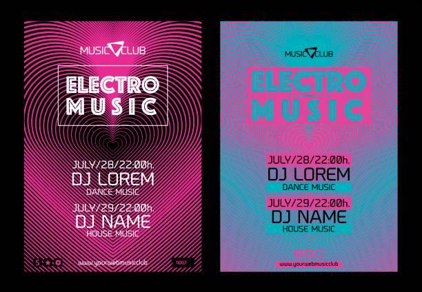 vorlage für poster design oder elektronische musik banner. - edm stock-grafiken, -clipart, -cartoons und -symbole