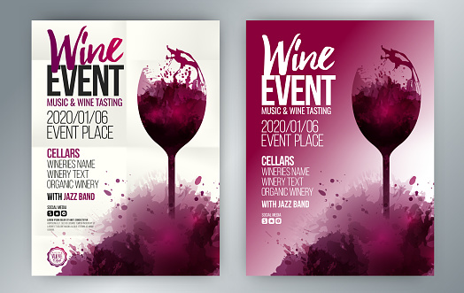 Template for poster, invitations, promotions and wine events