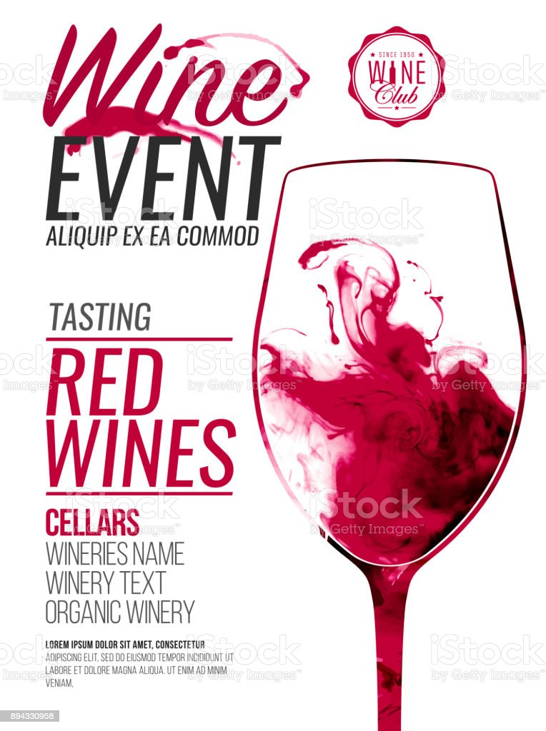 Template for promotions or presentations of wine events. Illustration with liquid effect. Stains of red wine. vector art illustration