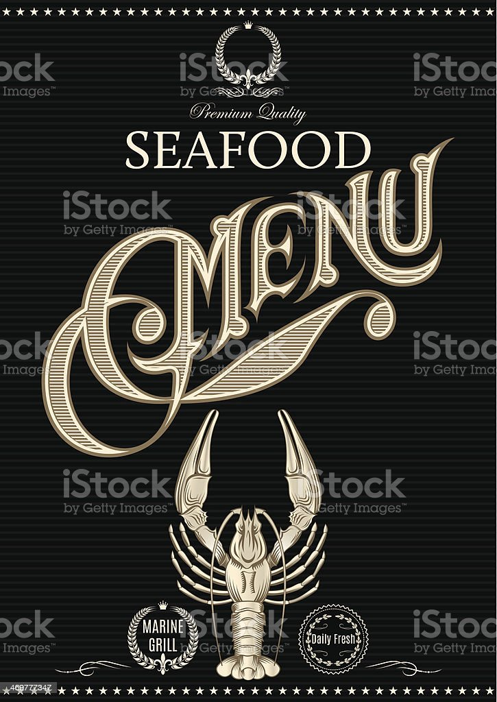 template for restaurant menu with crawfish royalty-free stock vector art