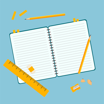 Template for social networks with a notebook, ruler and pencils.