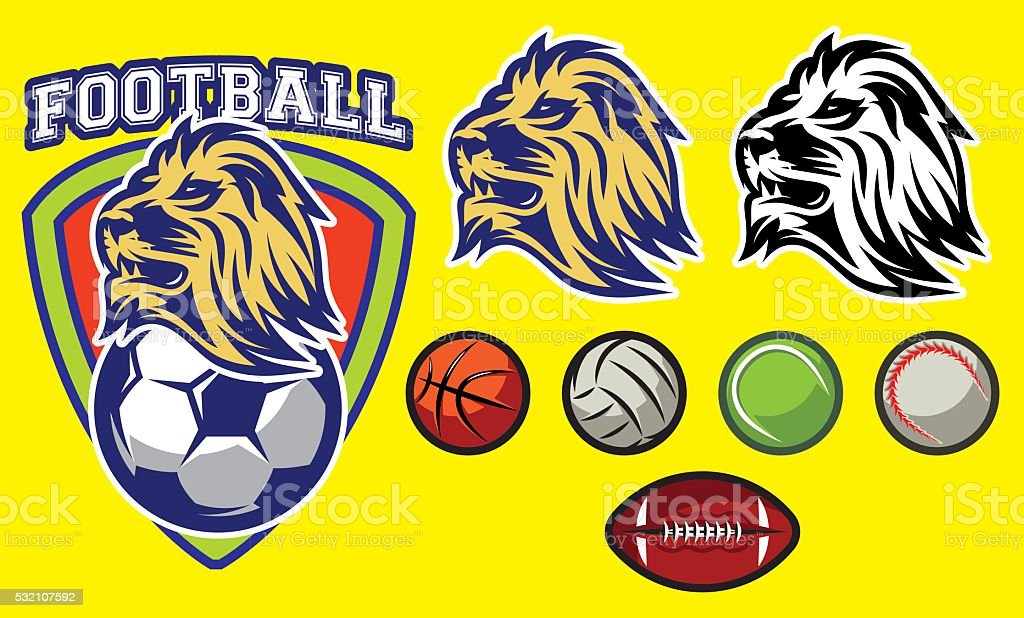 template for sports logo with a lion head and balls vector art illustration