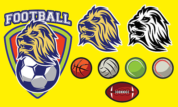 template for sports logo with a lion head and balls - high school sports stock illustrations, clip art, cartoons, & icons