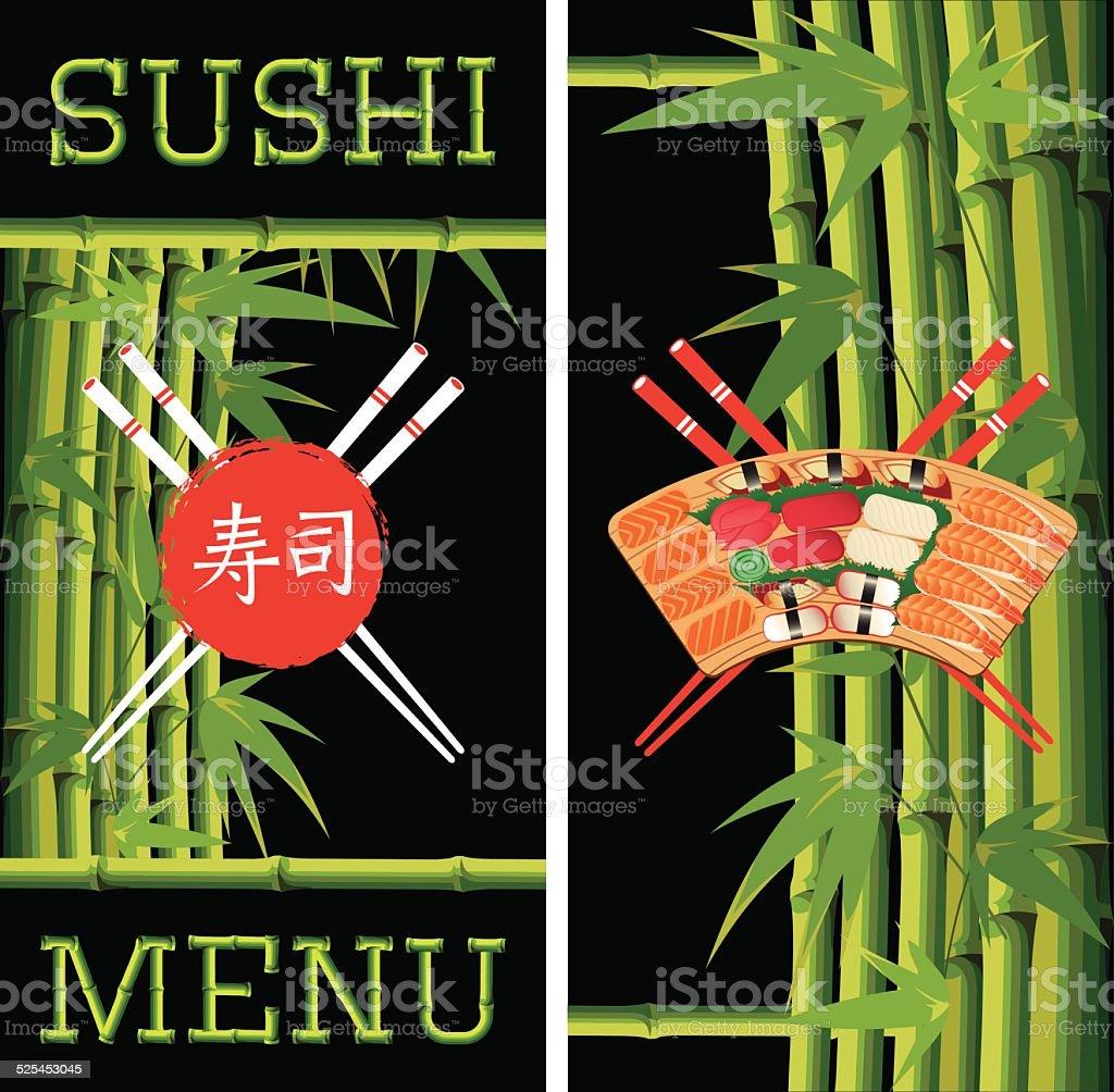 Ilustración de Plantilla De Menú De Sushi Con Bambú Sobre Fondo ...