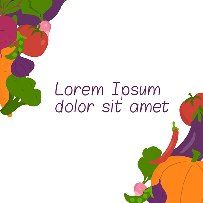 Template for text with vegetables. For graphic design, covers, presentations. etc