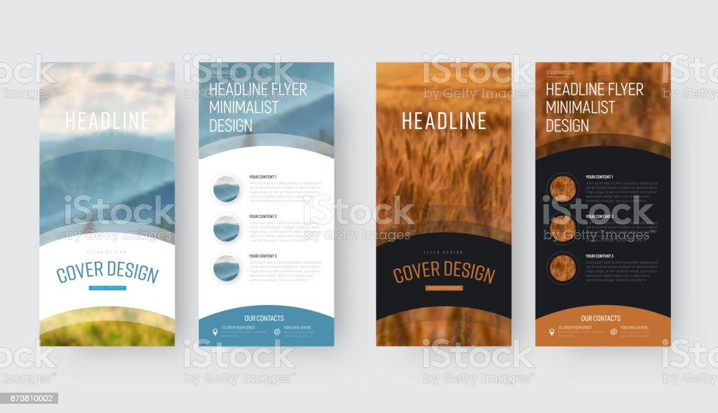 Vorlage für die vorderen und hinteren Seiten einen Vektor-Flyer im minimalistischen Stil mit einem Platz für Fotos – Vektorgrafik