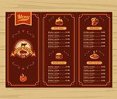Vector illustration template flyer for the restaurant, cafe menu