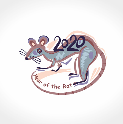 Template For The Year Of The Rat 2020 Draw Illustration ...