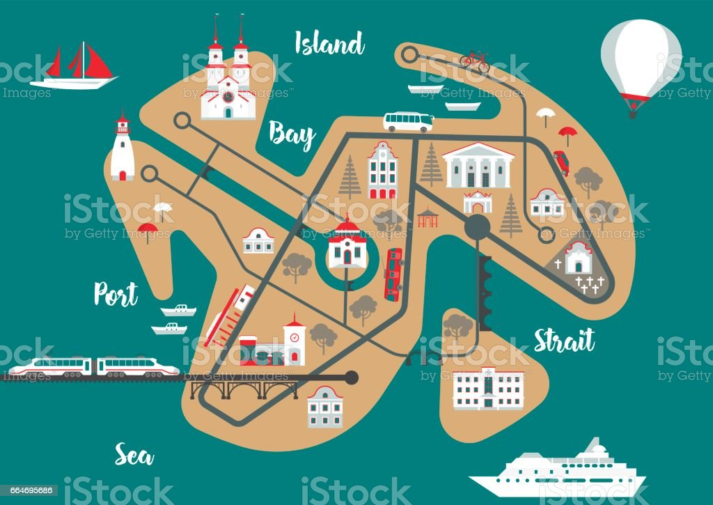 Template for tourist map of resort city. vector art illustration