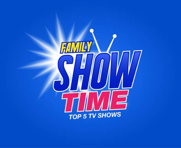 ilustrações de stock, clip art, desenhos animados e ícones de template for tv shows. shows time. family show. it can be used for logo tv show. stock vector - tv e familia e ecrã